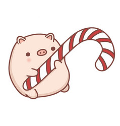 cute hand drawn cartoon piggy vector image