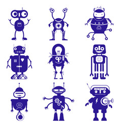 cute robots in flat style vector image