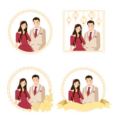 cute young chinese wedding couple collection flat vector image