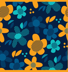 Decorative 60s style flowers seamless pattern vector