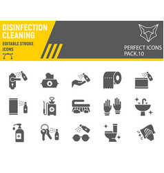 Disinfection glyph icon set cleaning symbols vector