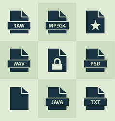 Document icons set with raw favorite psd and vector