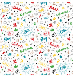 doodle seamless pattern hand drawn pop art signs vector image