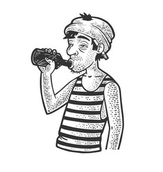 Drunkard with a bottle sketch vector