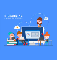E-learning online education concept kids vector