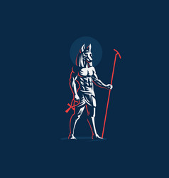 Egyptian god anubis emblem vector