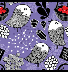 endless wallpaper with doodle birds on violet vector image
