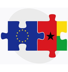 European Union and Guinea-Bissau Flags in puzzle vector image