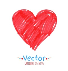 Felt pen drawing heart vector