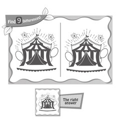 Find 9 differences game black circus vector
