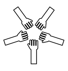 five hands group arms many hands connecting open vector image