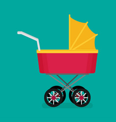 Flat baby carriage vector