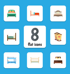 flat bed set of bedroom furniture mattress and vector image