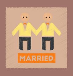 Flat shading style icon gay newlyweds vector