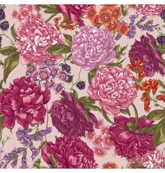 Floral Seamless Pattern with Peonies in Vintage vector image
