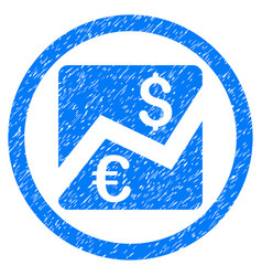 forex chart rounded icon rubber stamp vector image