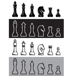 four sets chess icons vector image
