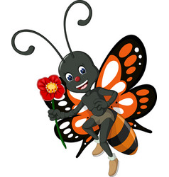 funny orange black butterfly with red flower vector image