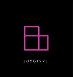 geometric shape letter l line monogram vector image