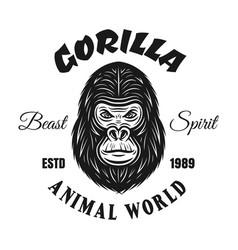 gorilla vintage emblem or t shirt print vector image