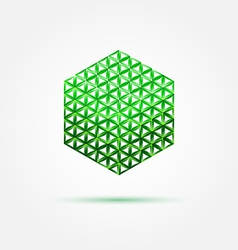 Green isometric cube icon made with triangles - vector image