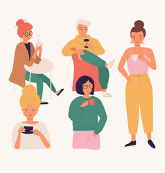 group young people drinking coffee vector image
