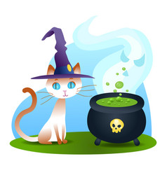 halloween white cat with fuming potion cauldron vector image