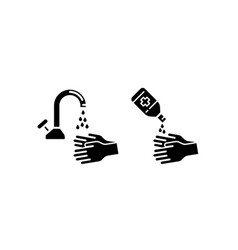 Hand sanitizer and hand washing icon glyph style vector