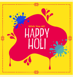 Happy holi festival wishes greeting card design vector