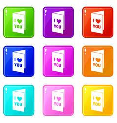 Happy valentines day or weeding card icons 9 set vector