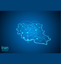 Iran map with nodes linked by lines concept of vector