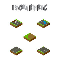 Isometric road set of rightward repairs turning vector