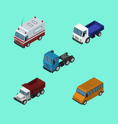 Isometric transport set of freight autobus first vector