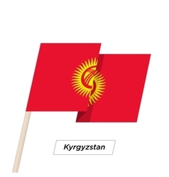 Kyrgyzstan Ribbon Waving Flag Isolated on White vector image