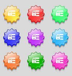 Lock login icon sign symbol on nine wavy colourful vector