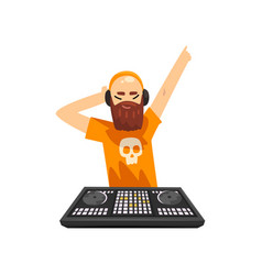male hipster dj in headphones playing track and vector image