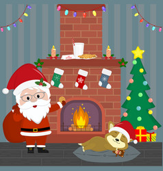 new year and christmas card santa claus holds a vector image