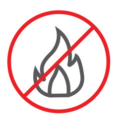 no fire line icon prohibited and warning no vector image