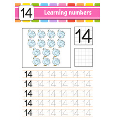 Number 14 trace and write handwriting practice vector
