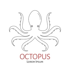 Octopus flat line vector image vector image