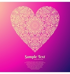 Ornate heart mandala pattern vector
