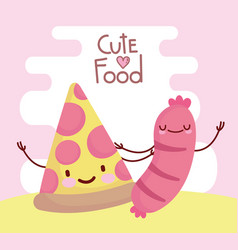 Pizza and sausage menu character cartoon food cute vector