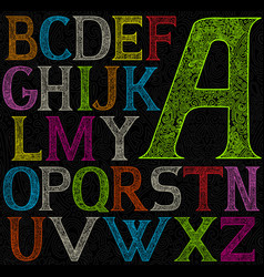 Psychedelic acid color alphabet vector
