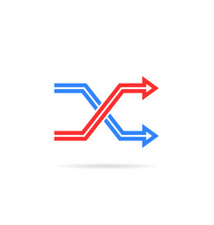 red and blue repeat icon like shuffle vector image