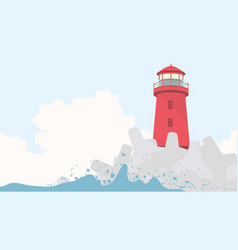 Red lighthouse with concrete breakwater vector