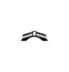 rialto bridge in venice black on white background vector image