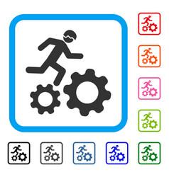 Running developer over gears framed icon vector