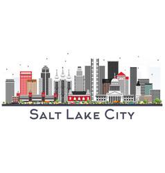 Salt lake city utah city skyline with gray vector