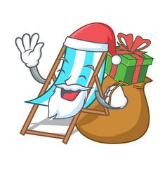Santa with gift beach chair mascot cartoon vector