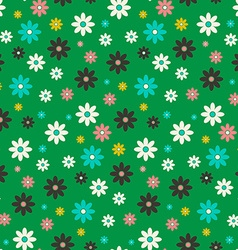 Seamless Flowers Pattern Flat Design Flower Set on vector